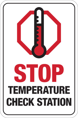 Decal - Stop - Temperature Check Station W/ Thermometer