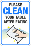 Please Clean Your Table After Eating W/ Hand