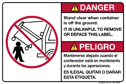 Decal - Danger - Stand Clear when Container is off Ground