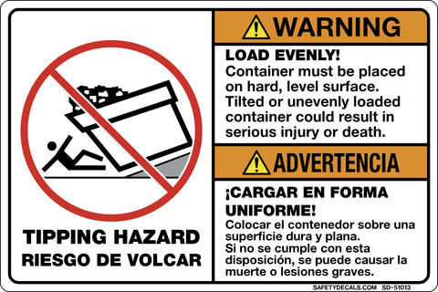 Decal - Warning - Load Evenly, Container must be placed on hard level Surface.