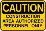 Decal - CAUTION Construction Area