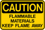 CAUTION Flammable Materials Keep Flame Away