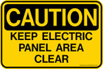 Decal - CAUTION Keep Electric Panel Area Clear