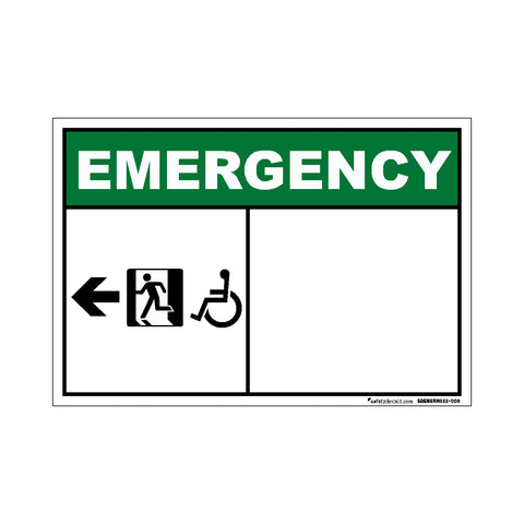 Decal - Emergency All Exit Right Blank