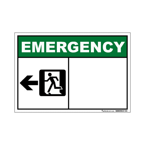 Decal - Emergency Exit Left Blank