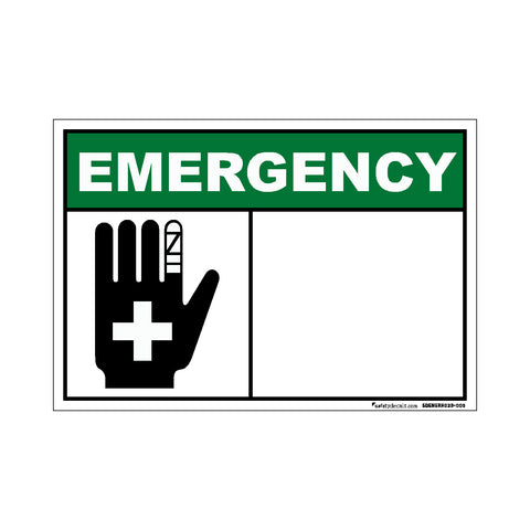 Decal - Emergency First Aid Blank