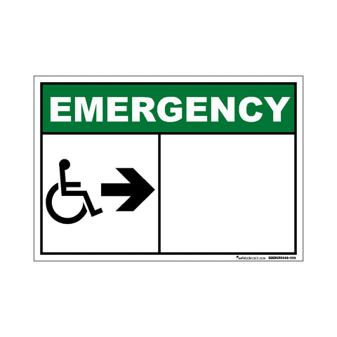 Decal - Emergency Wheelchair Right Blank