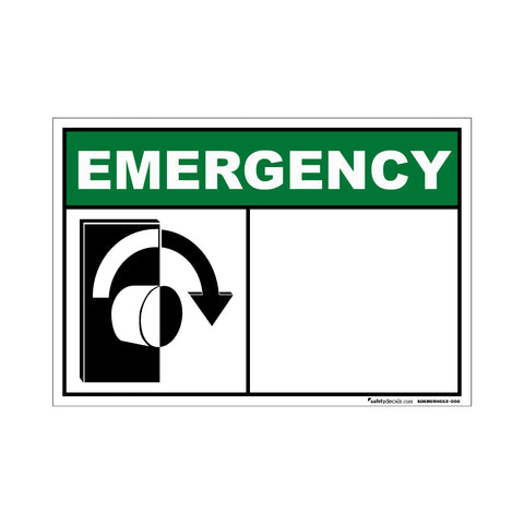 Decal - Emergency Turn To Open Blank