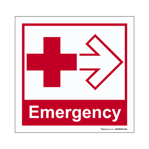 Fire Safety Decal Emergency Cross And Arrow