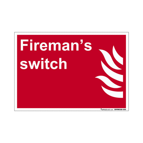 Fire Safety Decal Fireman's Switch