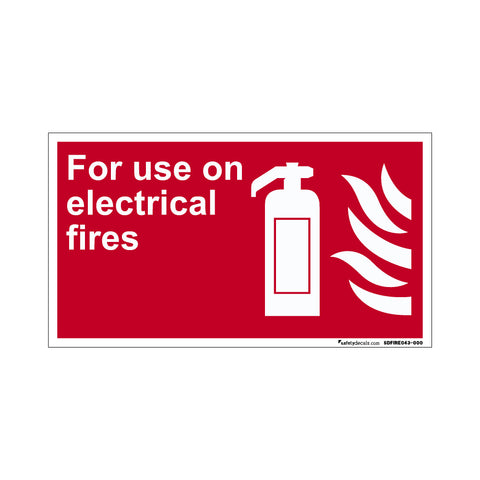 Fire Safety Decal For Use On Electrical Fires