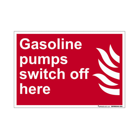 Fire Safety Decal Gasoline Pumps Switch Off Here