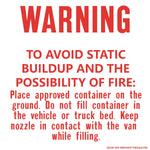Warning Avoid Static Buildup