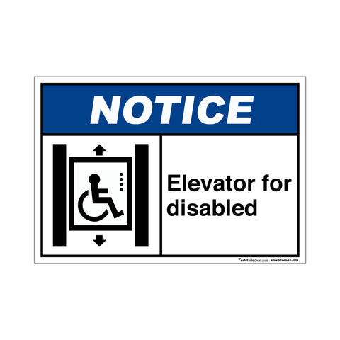 Notice  Elevator For Disabled