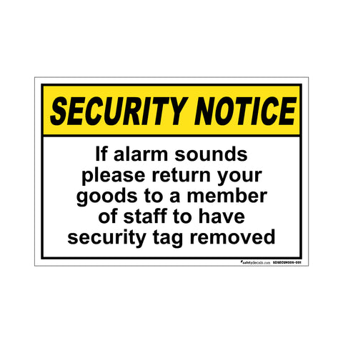 Security Notice  If Alarm Sounds…Removed