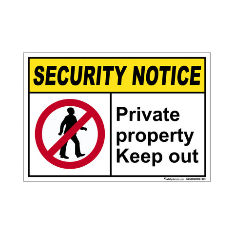 Security Notice Private Property Keep Out