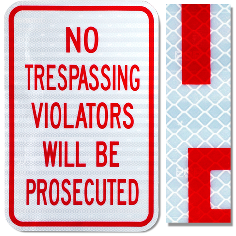 12inx18in NO TRESPASSING VIOLATORS