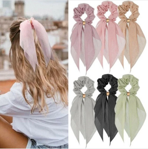 Image of Candy Color Women Hair Scrunchie Bows