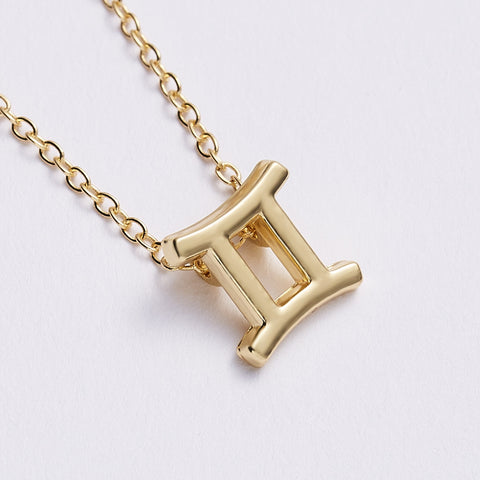 Image of Unisex 12 Horoscope Zodiac Sign Gold Pendant  Necklace