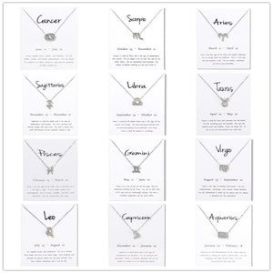Unisex 12 Horoscope Zodiac Sign Gold Pendant  Necklace