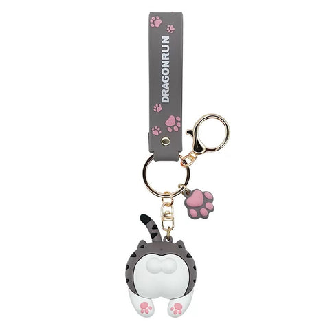 Cat Butt Keychain Cartoon