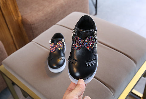Image of Children Glowing Princess Bow Sneakers