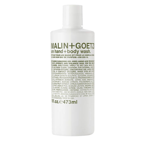 Malin+Goetz Rum Hand and Body Wash 16oz - Woo Skincare and Cosmetics