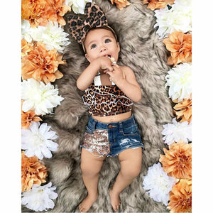 Girls Animal Print Denim Shorts Sets 12M-5T - Jane & Andy Kids
