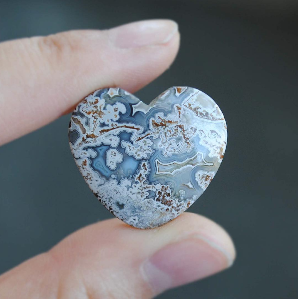 RESERVED: Crazy Lace Agate heart ring, size 7