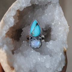 RESERVED: Turquoise Moonstone Ring (payment 3)