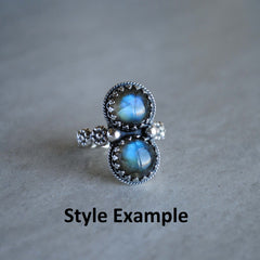 RESERVED for Jennifer (double rainbow moonstone ring)