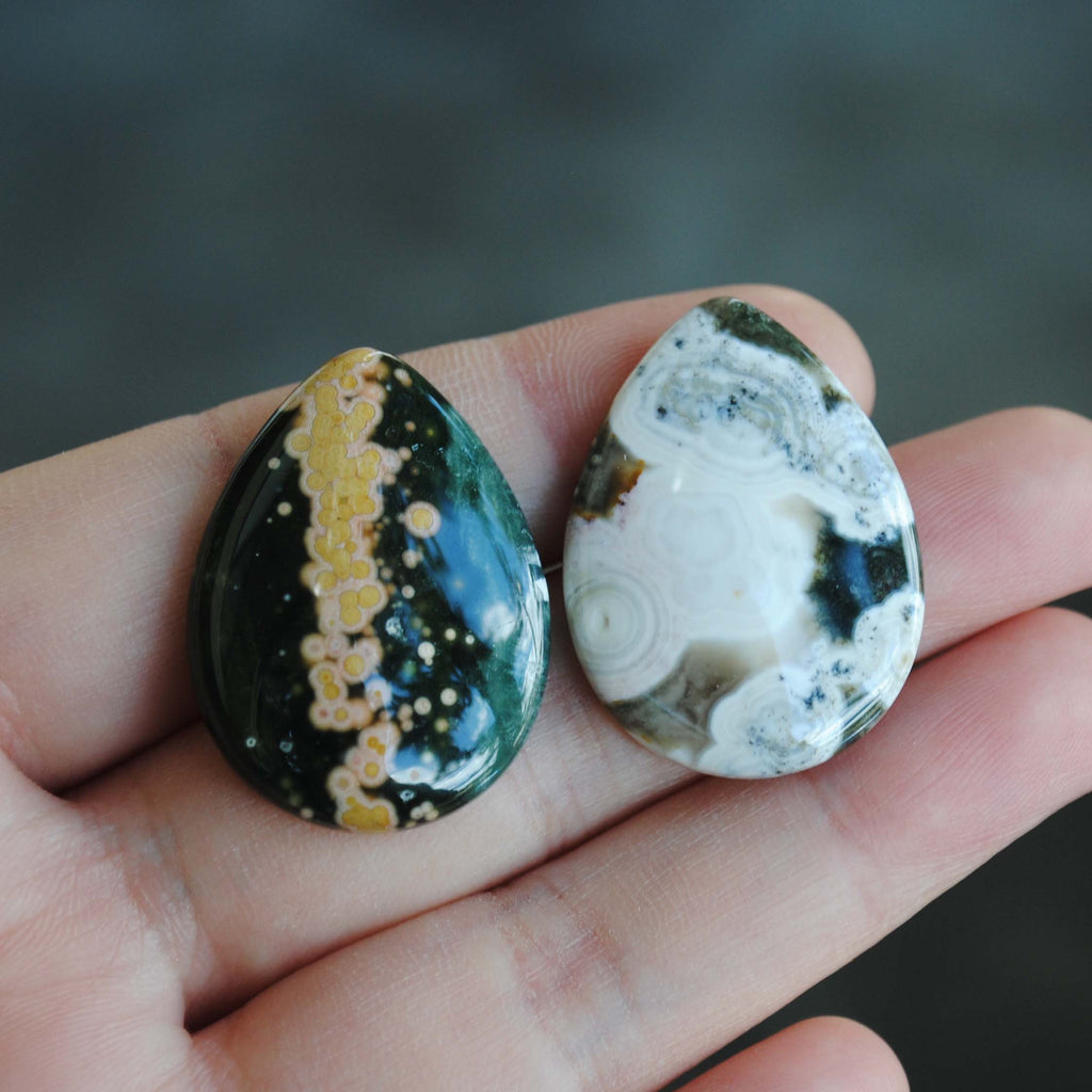 30 x 22mm drop Ocean Jasper cabs