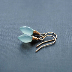 Dew Drop Aqua Chalcedony Earrings