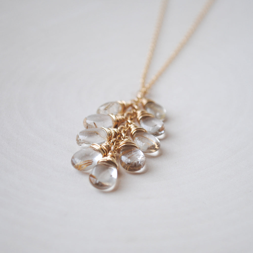 Cascading Golden Rutilated Quartz Necklace