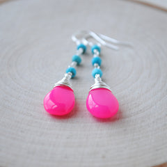 Turquoise and Hot Pink Chalcedony Long Earrings