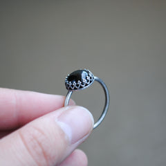 Black Onyx Crown Ring