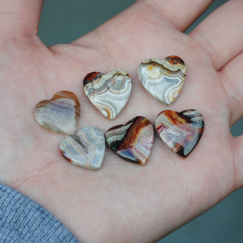 Crazy Lace Agate Heart Cabs