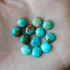 Kingman turquoise cabochons 8mm rounds (lot A)