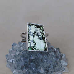 RESERVED: Spiderweb Kingman Turquoise Ring, Size 6 (payment #1)