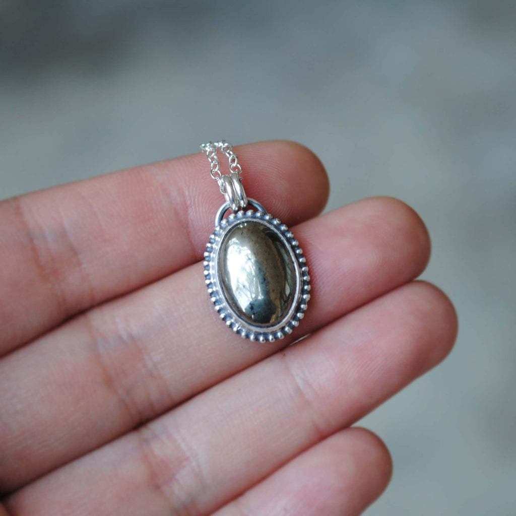 Pyrite Oval Necklace