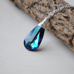 Silver Bermuda Blue Swarovski Necklace