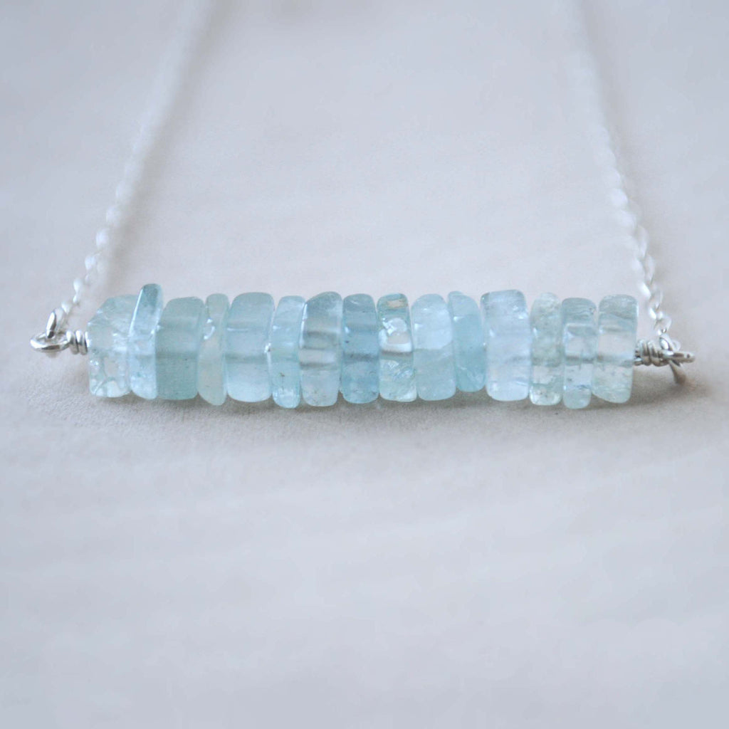 Aquamarine Square Bead Necklace