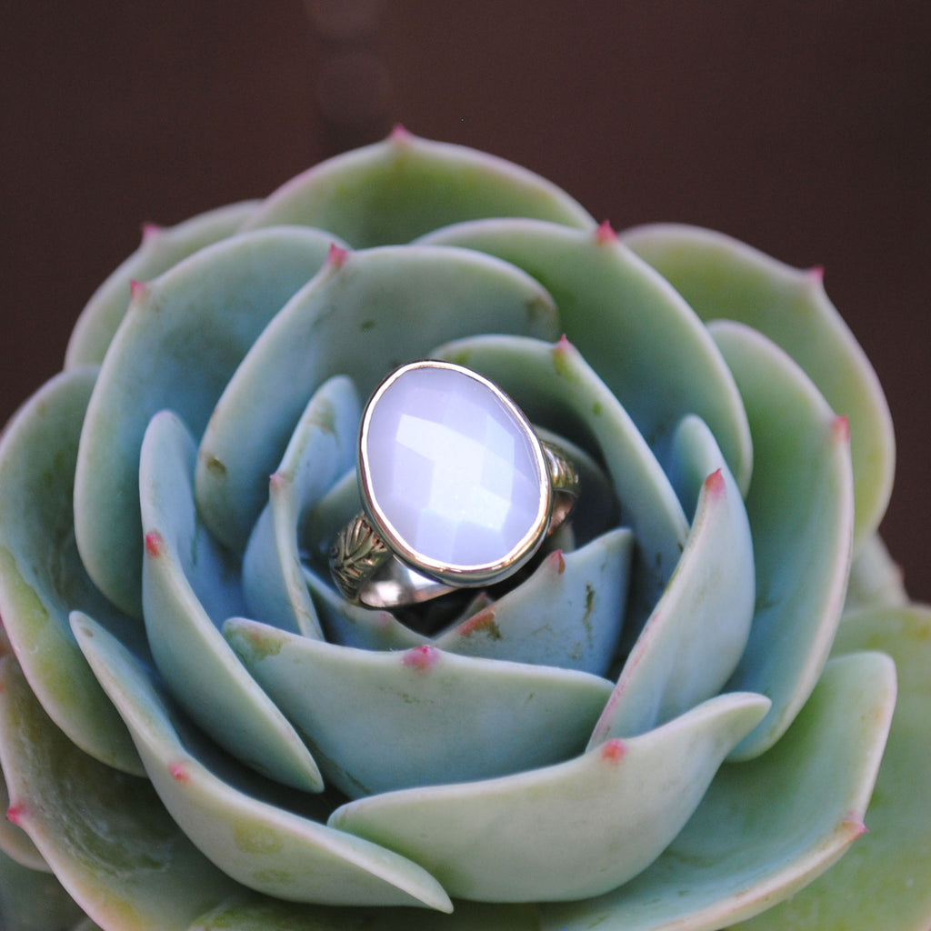 RESERVED: White Moonstone 14K Gold Ring (size 6)