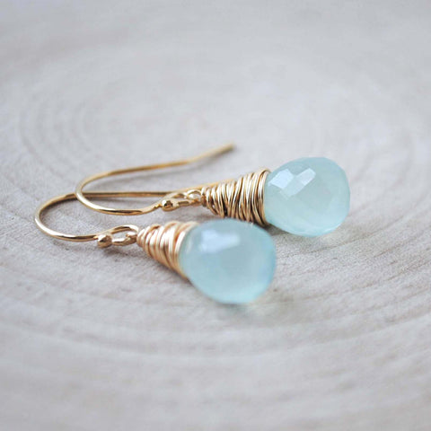Aqua Chalcedony Drop Earrings