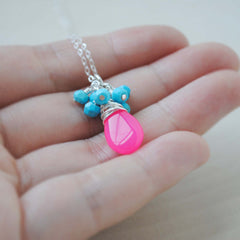 Turquoise and Hot Pink Chalcedony Cluster Necklace