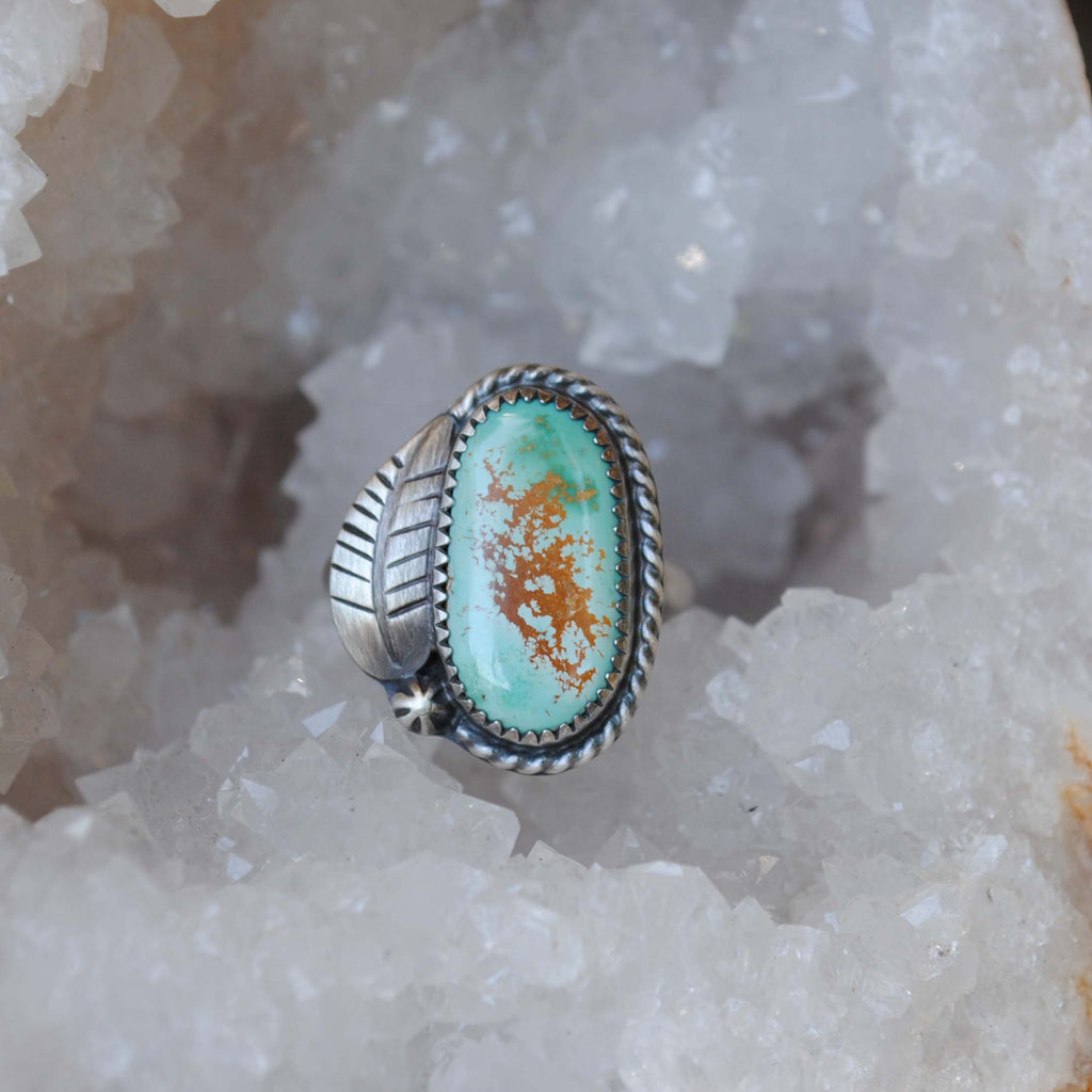 RESERVED: Turquoise ring with leaf