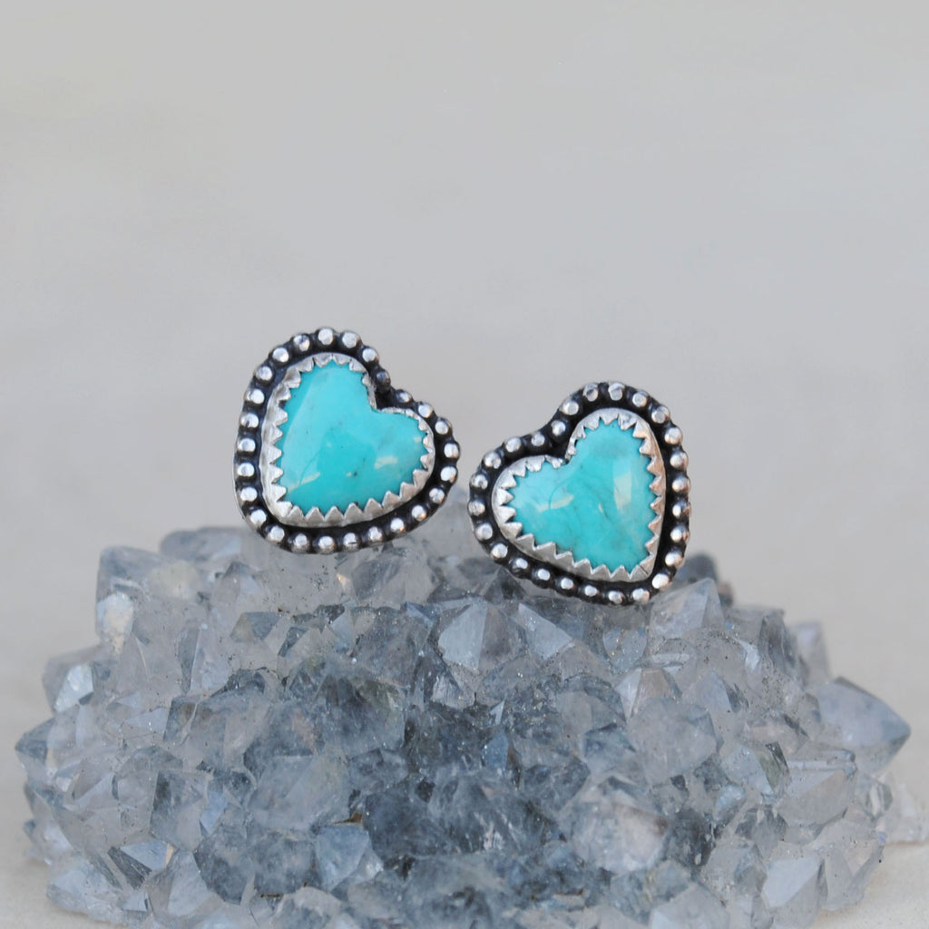 Turquiose Heart Stud Earrings