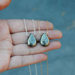 Pyrite Smooth Drop Necklace