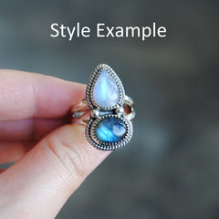 RESERVED: Moonstone Labradorite Ring Size 9