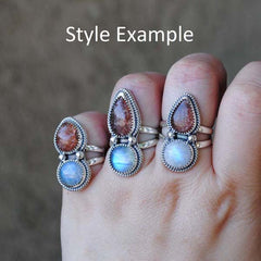 RESERVED: Moonstone Sunstone Ring